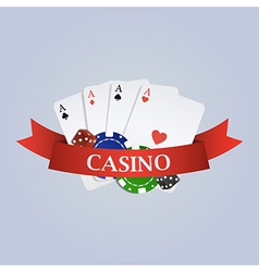 casino with ribbon playing cards dices and vector image