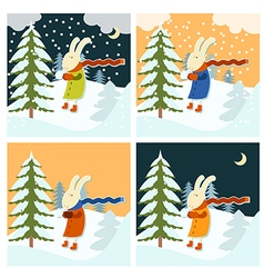 Cold winter with freezing hare vector image