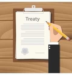 treaty concept agreement with hand hold pencil vector image