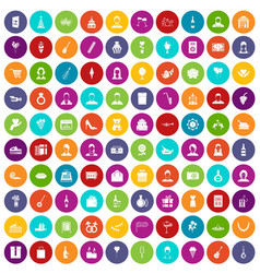 100 birthday icons set color vector