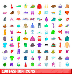100 fashion icons set cartoon style vector
