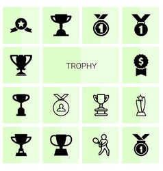 14 trophy icons vector image