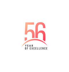 56 year excellence template design vector