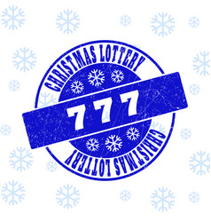 777 scratched round stamp seal for christmas vector