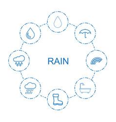 8 rain icons vector image