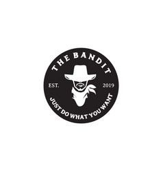 Bandit icon logo design inspiration template vector