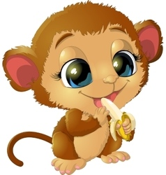 beautiful monkey that holds bananas vector image