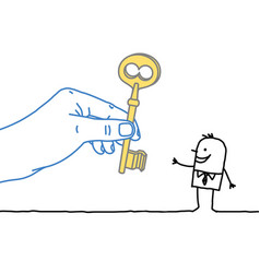 Big hand and cartoon businessman - giving the key vector