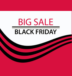 black friday sale banner with red and black vector image
