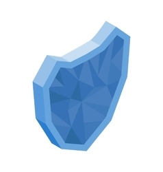 Blue glass shield icon isometric 3d style vector image