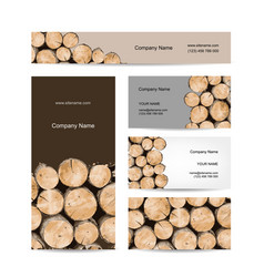 business cards design stack of wood vector image