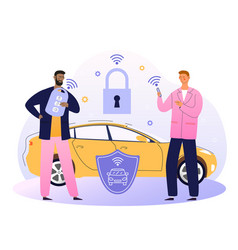 Businessman with car remote key and shield at car vector