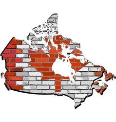 Canada map on a brick wall vector image vector image
