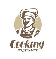 chef in hat logo restaurant bakery food symbol vector image