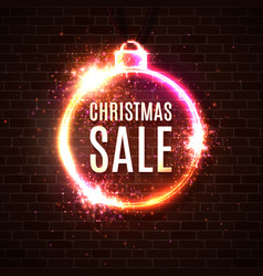 christmas sale discounts banner neon style card vector image