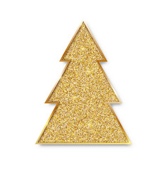 christmas tree with glittering texture golden fir vector image