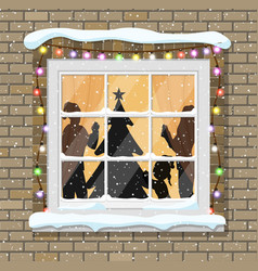 Christmas window with tree silhouette vector