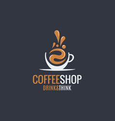 Coffee hot cup logo on dark background vector