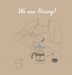 coffee shop social media posting hiring barista vector image