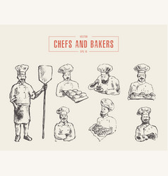 Collection chefs bakers hand drawn sketch vector