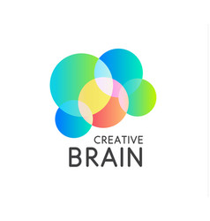 Color round shape icon creative brain logo vector