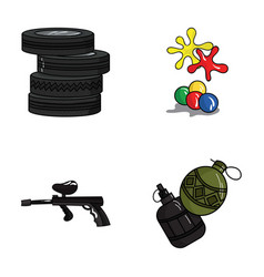 Competition contest equipment tires paintball vector