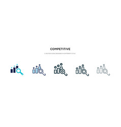 Competitive icon in different style two colored vector
