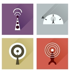 Concept of flat icons with long shadow Wi fi modem vector