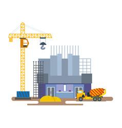 Construction cinema with of crane mixer vector