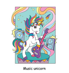 Cool unicorn with guitar colorful vector
