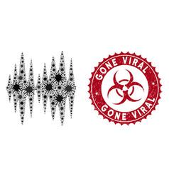coronavirus mosaic sound signal icon with textured vector image