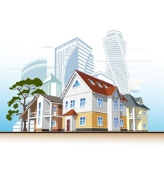 cottages and skyscrapers vector image