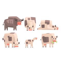 cow bull and calf set geometric farm animals vector image