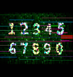 critical error glitch numbers on green matrix vector image