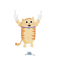 cute cartoon ginger cat frightened by mouse vector image