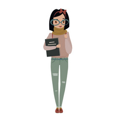 cute cheerful female nerd vector image