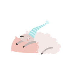 cute sheep animal sleeping on pillow vector image