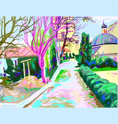 Digital painting rural landscape contemporary vector