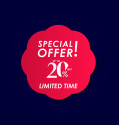 Discount special offer up to 20 off limited time vector
