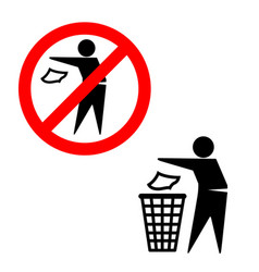 do not litter put trash in bin signs vector image