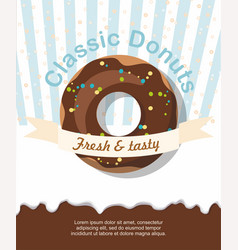 Donut with chocolate flyer template vector