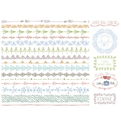 Doodle Hand drawn seamless line borders set vector
