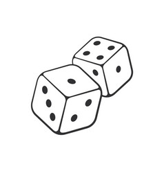 doodle two white dice with contour vector image