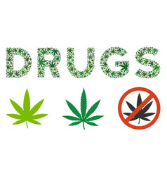 Drugs caption collage of weed leaves vector
