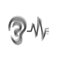 Ear hearing sound sign gray icon shaked vector