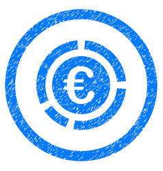 euro financial diagram rounded icon rubber stamp vector image