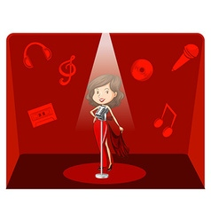 Female singer in red background vector