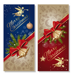 Festive red and blue card with angel christmas vector