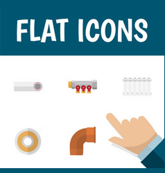 Flat icon sanitary set of roll pipework radiator vector