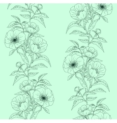Floral seamless pattern with peonies on green vector image